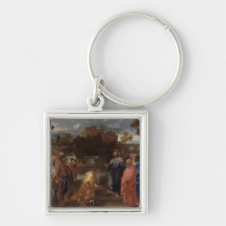 Christ and the Centurion Silver-Colored Square Keychain