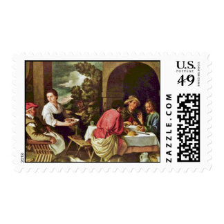 Christ And The Disciples Of Emmaus By Orrente Postage