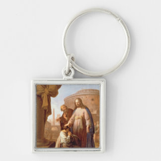 Christ and the Rich Young Ruler, 1640 Silver-Colored Square Keychain