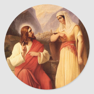 Christ and the Samaritan by Christian Schleisner Classic Round Sticker
