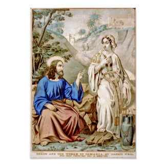 Christ and the woman of Samaria at Jacob's Well Poster