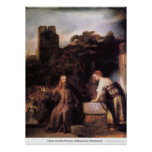 Christ And the Woman of Samaria by Rembrandt Print