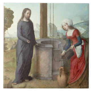 Christ and the Woman of Samaria, c.1500 (oil on pa Ceramic Tile
