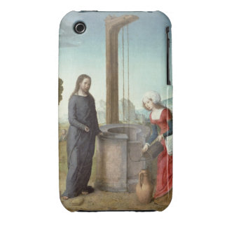 Christ and the Woman of Samaria, c.1500 (oil on pa iPhone 3 Case