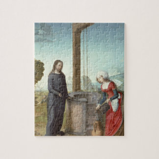 Christ and the Woman of Samaria, c.1500 (oil on pa Jigsaw Puzzle