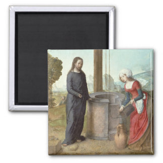 Christ and the Woman of Samaria, c.1500 (oil on pa Magnet