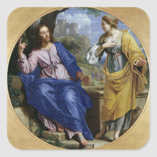 Christ and the Woman of Samaria Square Sticker