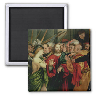 Christ and the Woman Taken in Adultery 2 2 Inch Square Magnet