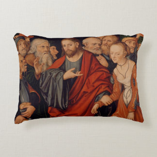 Christ and the Woman taken in Adultery Accent Pillow