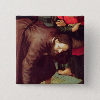 Christ and the woman taken in adultery pinback button