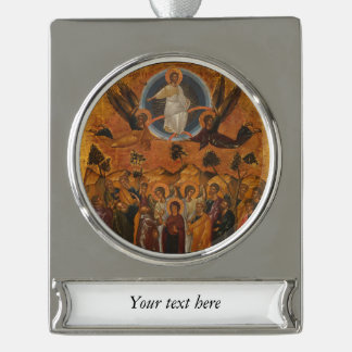 Christ Ascending into Heaven Silver Plated Banner Ornament