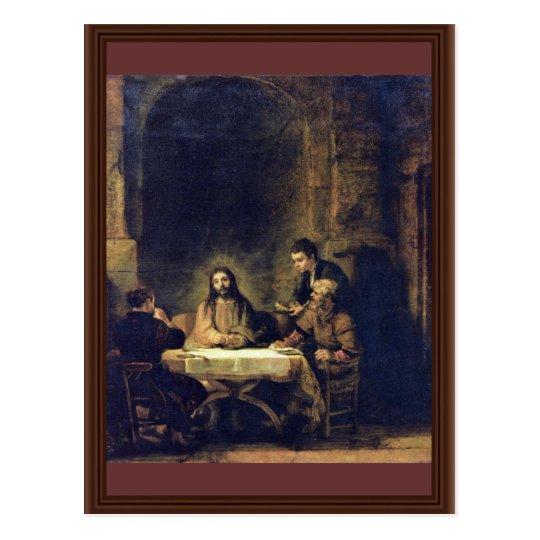 Christ At Emmaus By Rembrandt Harmensz. Van Rijn Postcard