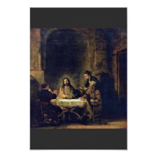 Christ At Emmaus By Rembrandt Harmensz Van Rijn Posters