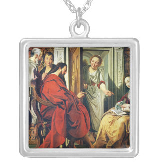 Christ at House of Martha and Mary of Bethany Square Pendant Necklace