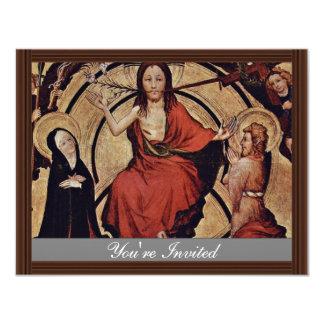 "Christ At The Last Court By Norddeutscher Meister 4.25"" X 5.5"" Invitation Card"