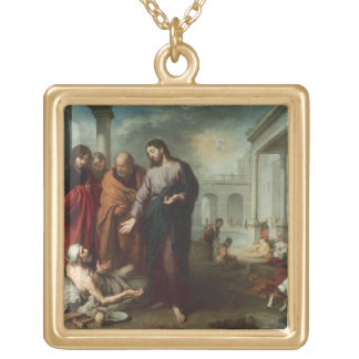 Christ at the Pool of Bethesda, 1667-70 (oil on ca Gold Plated Necklace