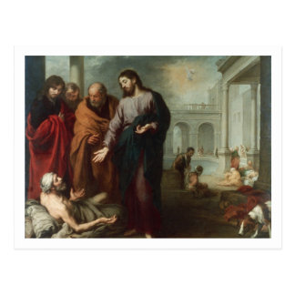 Christ at the Pool of Bethesda, 1667-70 (oil on ca Postcard