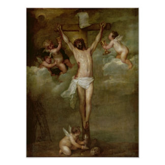 Christ attended by angels holding chalices poster