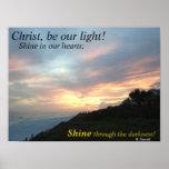 Christ, be our light! sunset beach scene poster