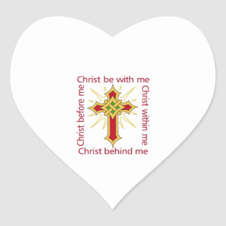 CHRIST BE WITH ME HEART STICKER