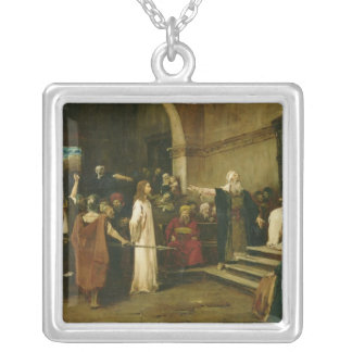 Christ Before Pilate, 1880 Silver Plated Necklace