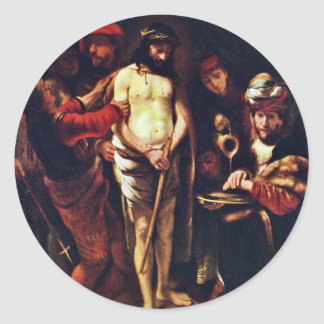 Christ Before Pilate By Maes Nicolaes Round Sticker