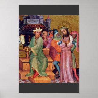 Christ Before Pilate By Meister Bertram Von Minden Poster