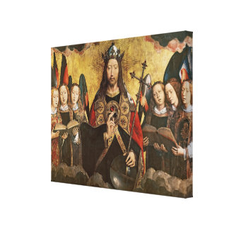 Christ Blessing, central panel from a triptych Canvas Print
