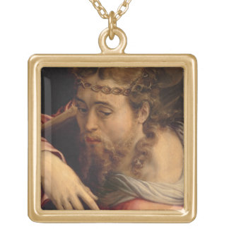 Christ Carrying the Cross, 1540-45 (oil on panel) Square Pendant Necklace
