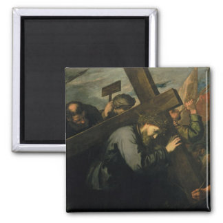 Christ Carrying the Cross, 1635 2 Inch Square Magnet