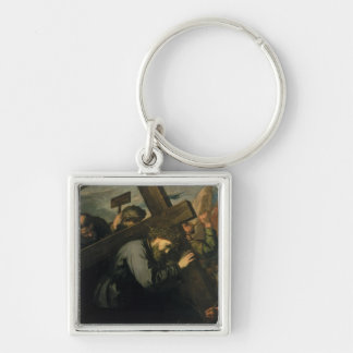 Christ Carrying the Cross, 1635 Silver-Colored Square Keychain