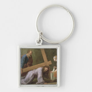 Christ Carrying the Cross, c.1651 Silver-Colored Square Keychain