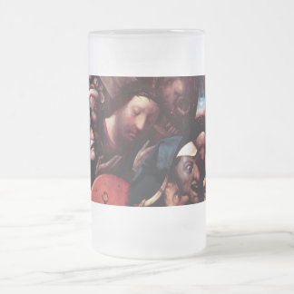 Christ Carrying the Cross Frosted Glass Beer Mug