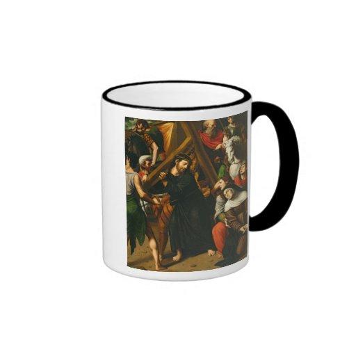 Christ Carrying the Cross Ringer Coffee Mug