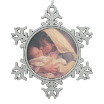 CHRIST CHILD AND MARY SNOWFLAKE PEWTER CHRISTMAS ORNAMENT
