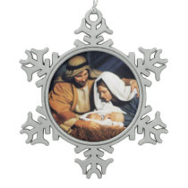 CHRIST CHILD SNOWFLAKE PEWTER CHRISTMAS ORNAMENT