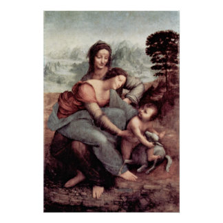 Christ Child with St. Anne Maria Lamb by da Vinci Poster