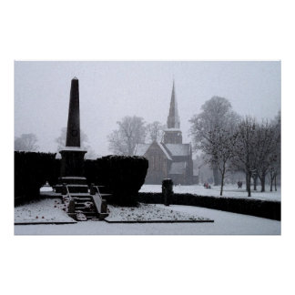 Christ Church & Memorial in Snow Watercolour Poster