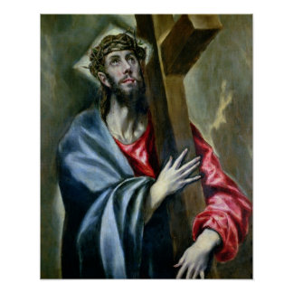 Christ Clasping the Cross, 1600-10 (oil on canvas) Poster