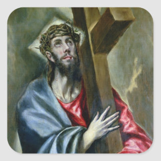 Christ Clasping the Cross 1600-10 oil on canvas Square Sticker