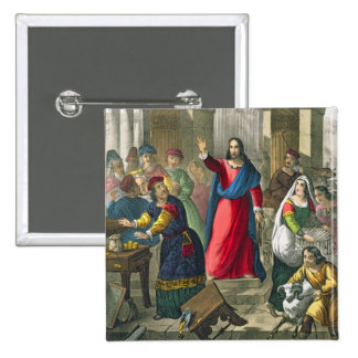 Christ Cleanses the Temple, from a bible printed b 2 Inch Square Button