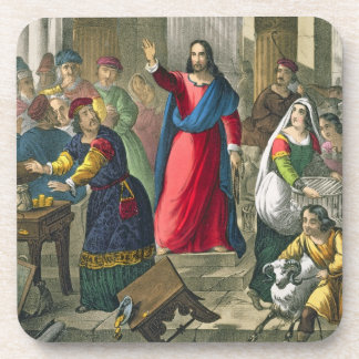 Christ Cleanses the Temple, from a bible printed b Beverage Coaster