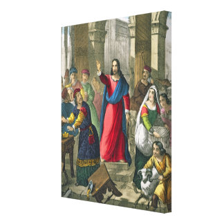 Christ Cleanses the Temple, from a bible printed b Canvas Print
