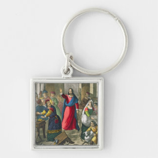 Christ Cleanses the Temple, from a bible printed b Keychain