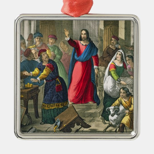 Christ Cleanses the Temple, from a bible printed b Metal Ornament