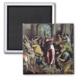 Christ Driving the Traders from the Temple 2 Inch Square Magnet