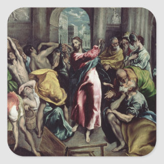 Christ Driving the Traders from the Temple Square Sticker