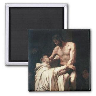Christ Embracing St. Bernard 2 Inch Square Magnet
