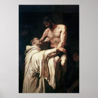 Christ Embracing St. Bernard Poster