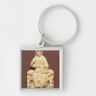 Christ enthroned, Byzantine, 10-11th century Silver-Colored Square Keychain